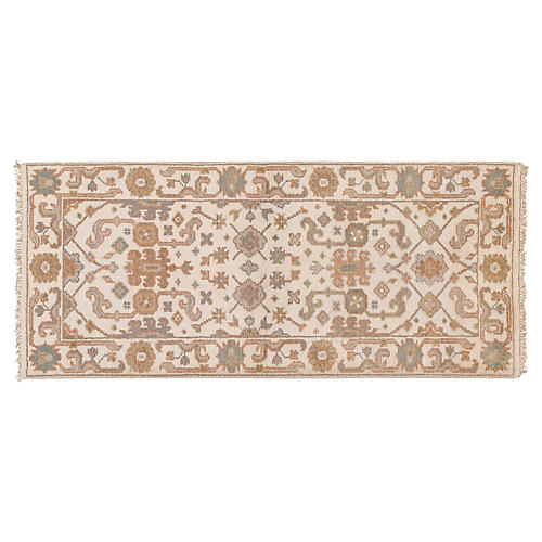 "2'8""x6' Madhu Hand-Knotted Runner, Ivory"
