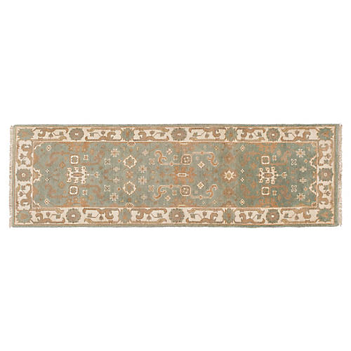 "2'7""x8' Edvard Hand-Knotted Runner, Green"