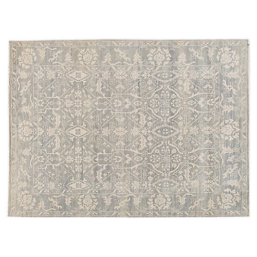 "9'x12'1"" Ravi Hand-Knotted Rug, Blue-Gray"