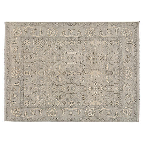 "9'6""x12'7"" Elmira Hand-Knotted Rug, Gray"