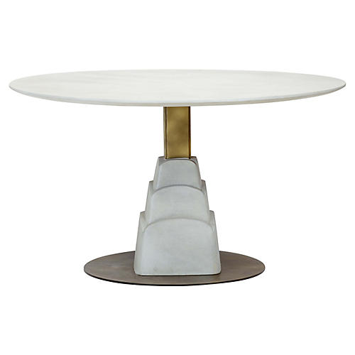 Chrysler Dining Table, Gray/Bronze
