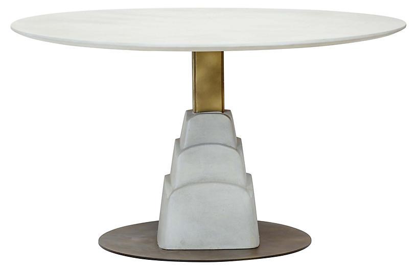 Chrysler Dining Table, Gray/Bronze