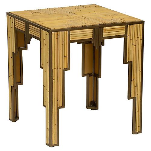Empire Side Table, Tan/Bronze