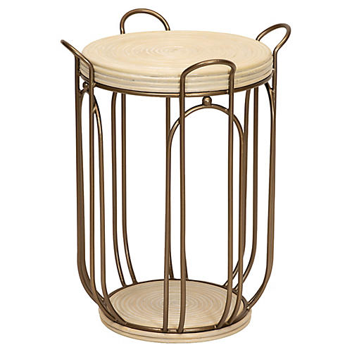 Plaza Side Table, Natural/Brass