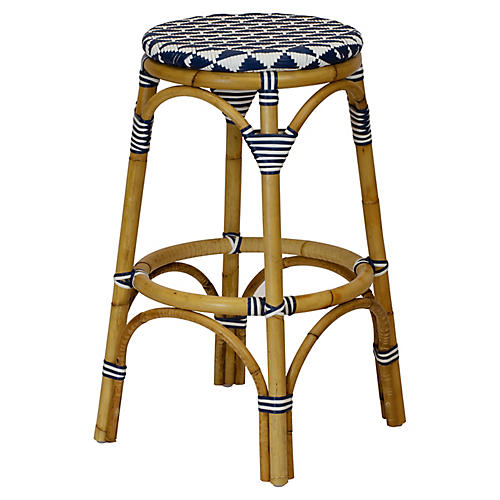 Pinnacles Barstool, White/Navy