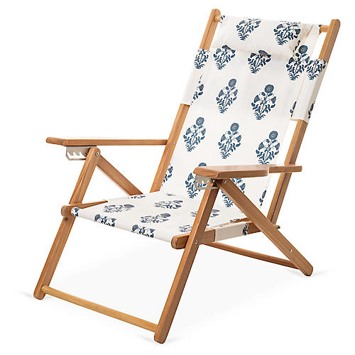 Luna Backpack Beach Chair, Blue/White