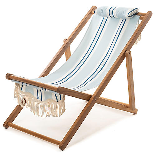 Quincy Stripe Sling Beach Chair, Blue