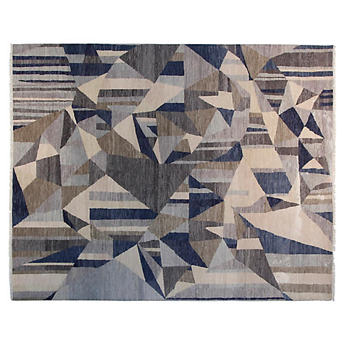 9'x12' Graphic Hand-Knotted Rug, Navy/Gray