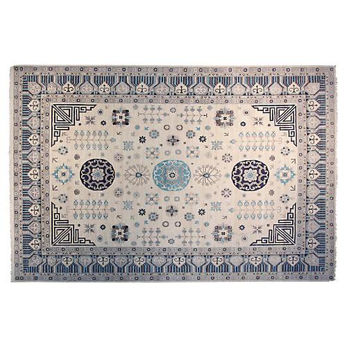12'x15' Khotan Hand-Knotted Rug, Ivory/Blue