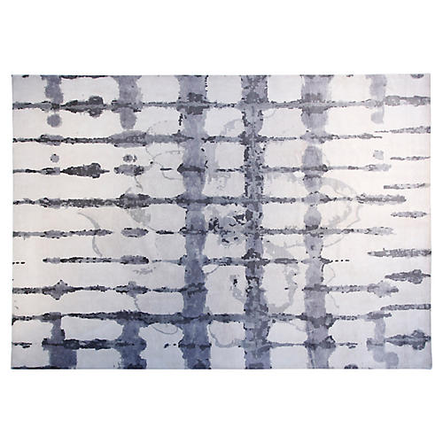 9'x12' Ocean Hand-Knotted Rug, Ivory/Gray