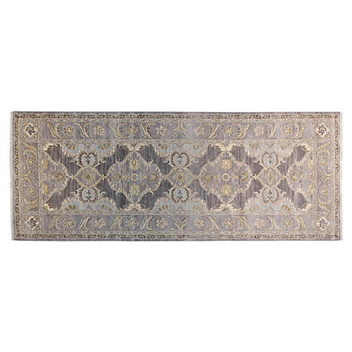 4'x10' Oushak Hand-Knotted Rug, Gray/Beige