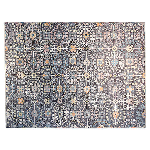 9'x12' Sari Kerman Hand-Knotted Rug, Charcoal