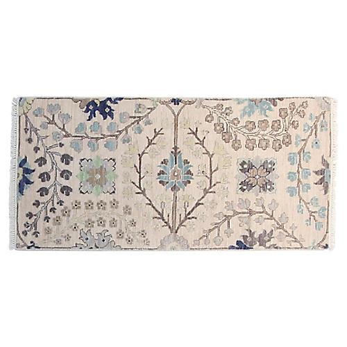 2'x4' Sari Kerman Hand-Knotted Rug, Ivory/Aqua