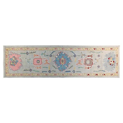 3'x11' Turkish Runner, Light Blue/Pink