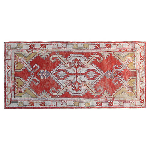 3'x6' Turkish Hand-Knotted Rug, Red/Mint