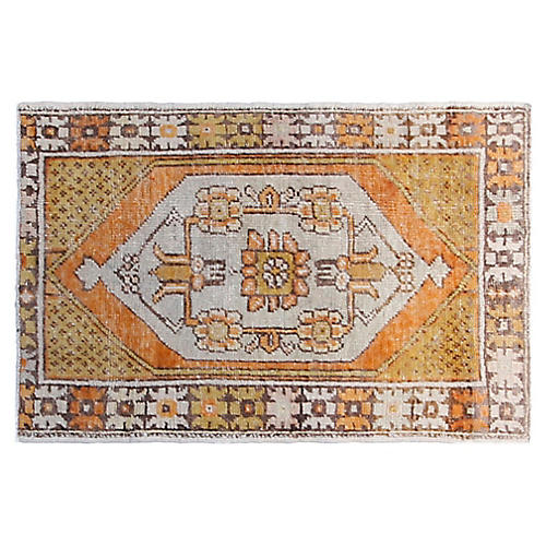 3'x5' Turkish Hand-Knotted Rug, Apricot