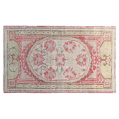3'x6' Turkish Hand-Knotted Rug, Red/Sage