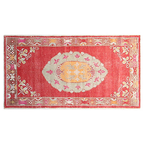 3'x6' Turkish Hand-Knotted Rug, Red/Honey