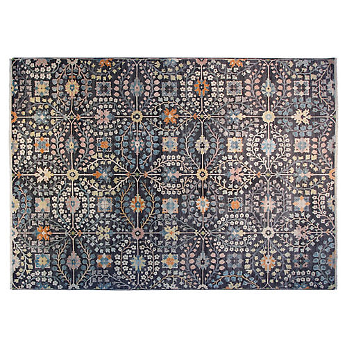 9'x12' Callie Hand-Knotted Rug, Charcoal
