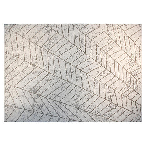 10'x14' Fame Hand-Knotted Rug, Ivory/Gray