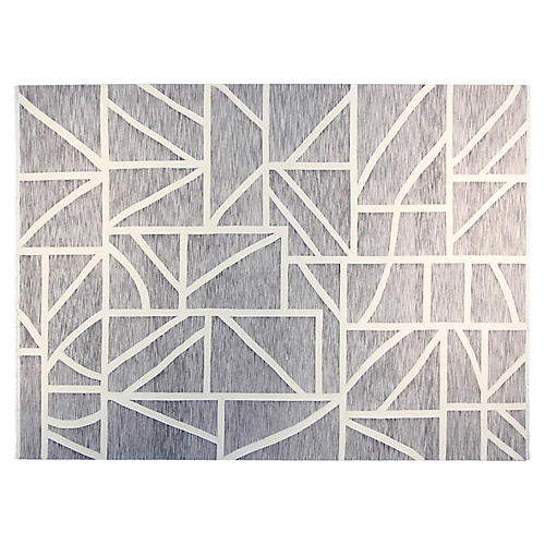 9'x12' Max Hand-Knotted Rug, Gray/White