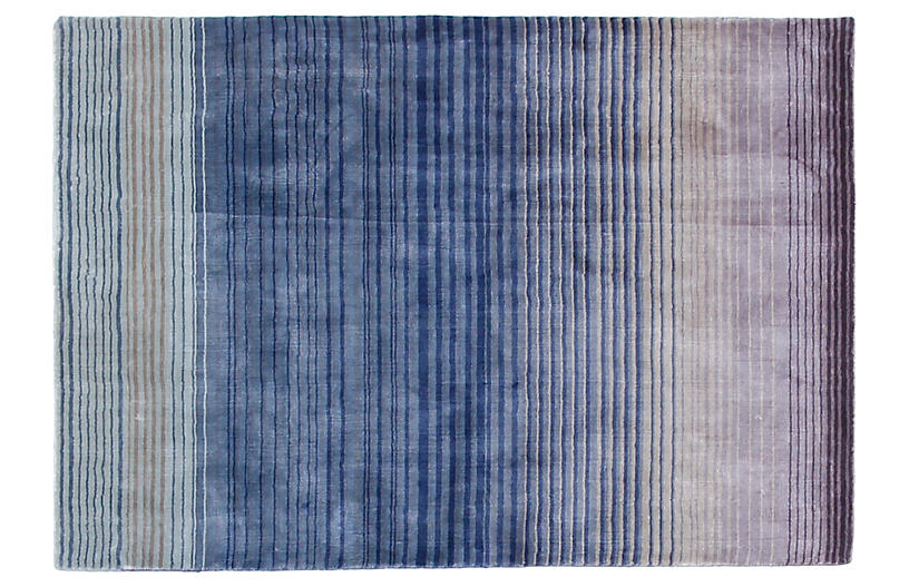 4'x6' Ombré Hand-Knotted Rug, Navy/Multi