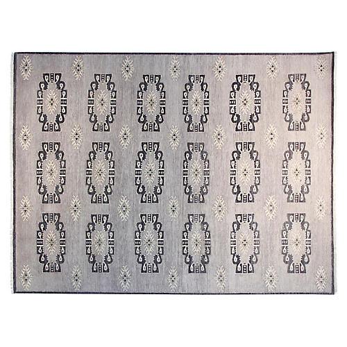 9'x12' Sari Bianca Hand-Knotted Rug, Charcoal