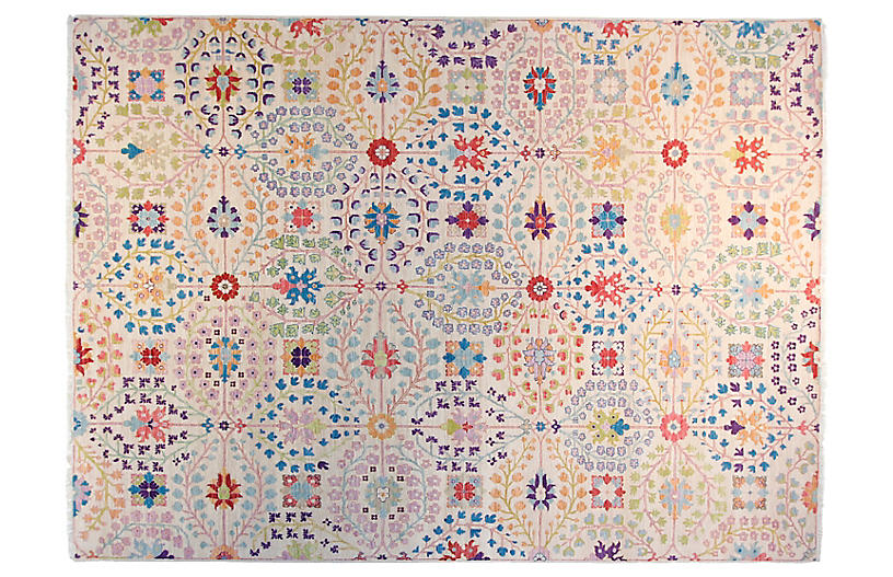 9'x12' Sari Mona Hand-Knotted Rug, Ivory/Orchid