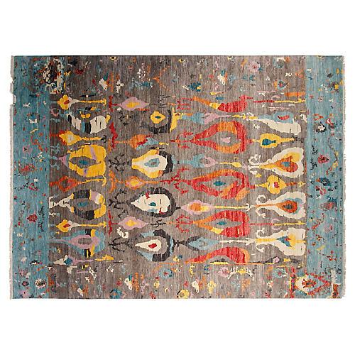 9'x12' Sari Observa Hand-Knotted Rug, Gray/Aqua