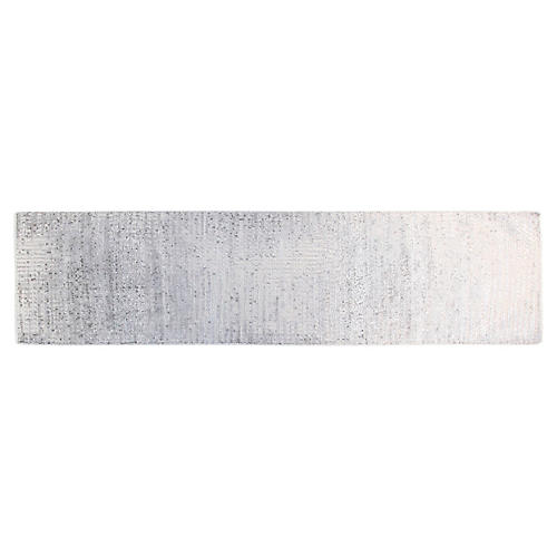"""2'6""""x10' Ashley Hand-Knotted Runner, Silver/Gray"""