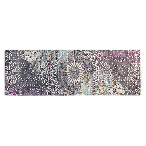 "2'7""x8' Sari Graphic Runner, Charcoal/Violet"