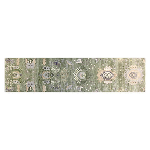 """2'7""""x10' Sari Liam Hand-Knotted Runner, Green"""