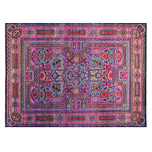10'x14' Sari Magani Hand-Knotted Rug, Pink