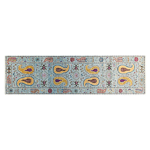 "2'7""x10' Sari Suzani Runner, Light Blue/Yellow"