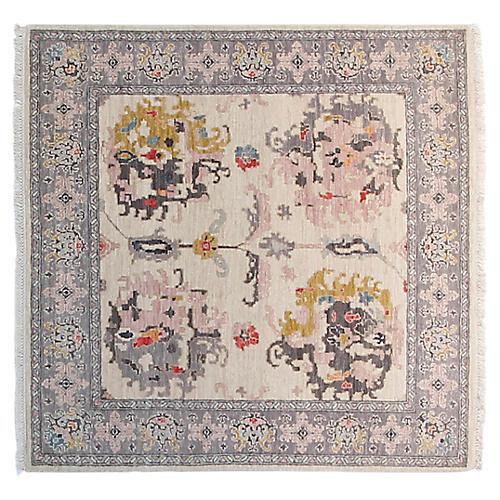4' Sari Michelle Square Rug, Ivory/Gold