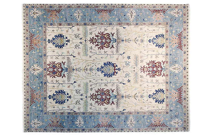 9'x12' Sari Michelle Square Rug, Ivory/Sea