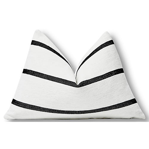 Hana 25x16 lumbar Pillow, White/Black