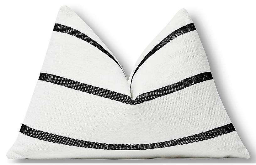 Hana 25x16 lumbar Pillow, White/Black
