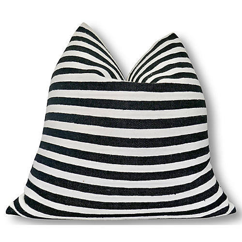 Leah 24x24 Pillow, Black/White
