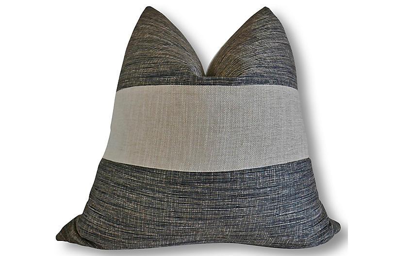 Maddie 24x24 Pillow, Smoke/Natural/White