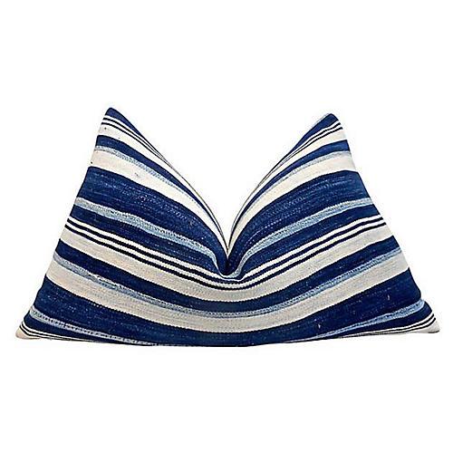 Kelly 25x16 Lumbar Pillow, Indigo/White