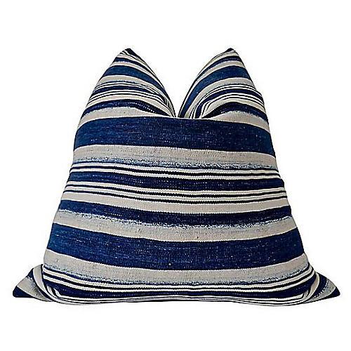 Dina 24x24 Pillow, Indigo/White