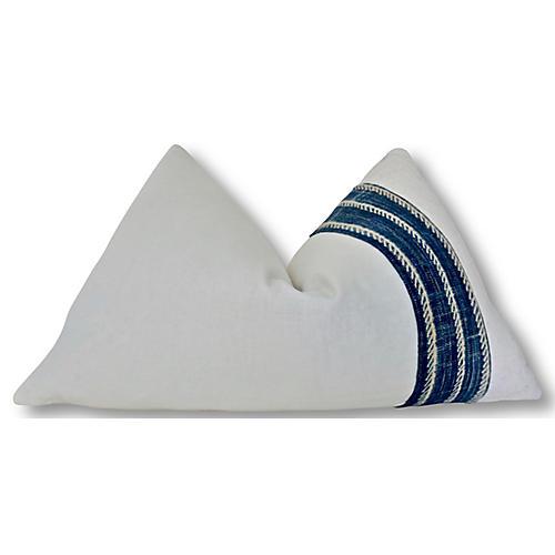 Katie 25x16 Lumbar Pillow, Indigo/Natural/White