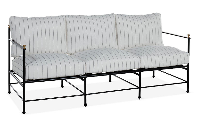 Frances Sofa, White Stripe