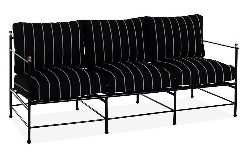 Frances Sofa, Black/White Stripe