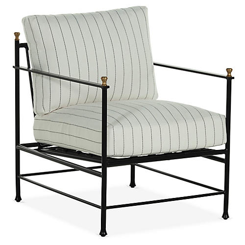 Frances Lounge Chair, White Stripe