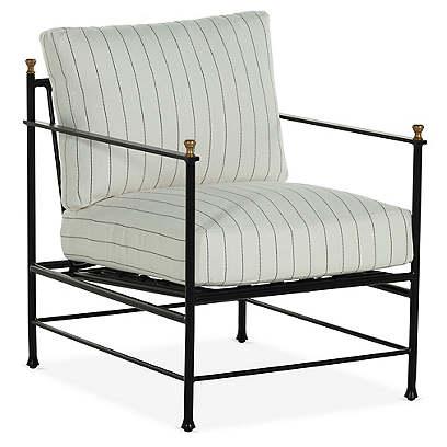 Frances Lounge Chair, White Stripe