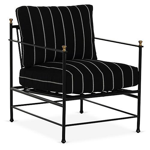 Frances Lounge Chair, Black/White Stripe