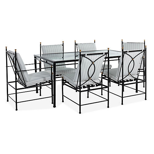 Frances 7-Pc Dining Set, White Stripe