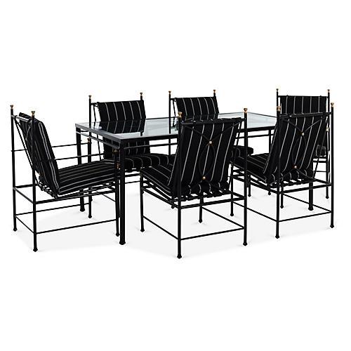 Frances 7-Pc Dining Set, Black/White Stripe
